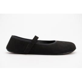 Ahinsa Shoes Ananda Bare - Balerínka Černá Semišová (vegan)
