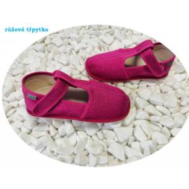 Beda Barefoot bačkory s páskem - růžová třpytka - SLIM