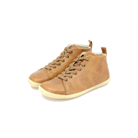 Mukishoes HIGH CUT Raw Leather Brown - zimní