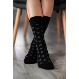 Be Lenka ponožky zimní - tečky černo šedivé