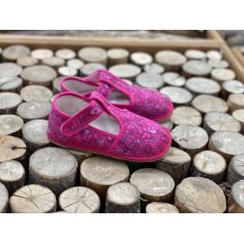 Beda Barefoot bačkory s páskem - růžová srdíčka - SLIM