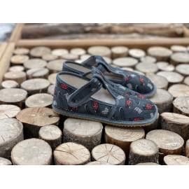 Beda Barefoot bačkory s páskem - šedá formule - SLIM