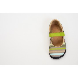 Ahinsa Shoes Sundara - Balerínka Sunbrella zelené proužky