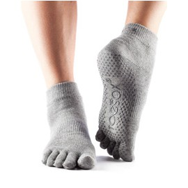 ToeSox Fulltoe Ankle Grip (Heather grey)