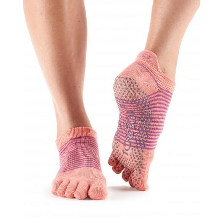 ToeSox Fulltoe Lowrise Grip (Persimmon Stripe)