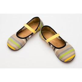 Ahinsa Shoes Ananda - Balerínka žluté proužky Sunbrella