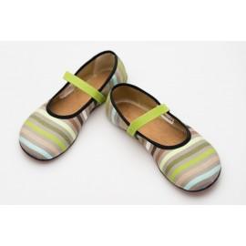Ahinsa Shoes Ananda - Balerínka zelené proužky Sunbrella