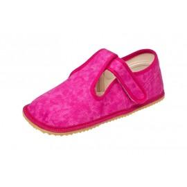Beda Barefoot bačkory s páskem - růžová batika