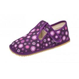 Beda Barefoot bačkory s páskem - fialové kvítko