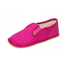 Beda Barefoot bačkory s gumičkou - růžová třpytka