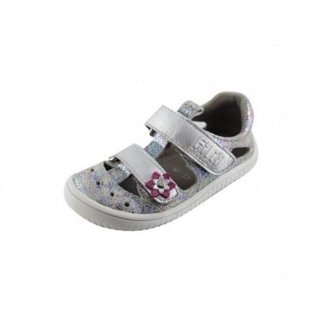 Filii Barefoot KAIMAN Velcro Velours Silver Multicolor