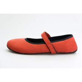 Ahinsa Shoes Ananda Bare - Balerínka Červená Semišová