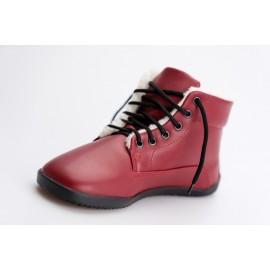 Ahinsa Shoes Sundara - zimní kotníčková červená LIFO+